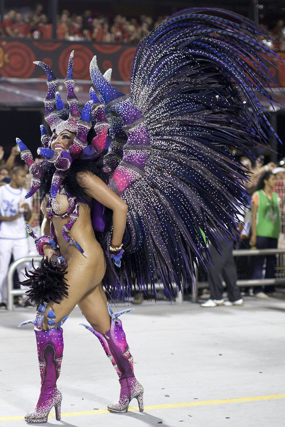 epa03576134 A member of Samba school Nene, from Vila Matilde district, takes part in a parade at the Sambodromo of Anhebi in Sao Paulo, Brazil, 09 February 2013. This is the second day of carnival in Sao Paulo.  EPA/SEBASTIAO MOREIRA